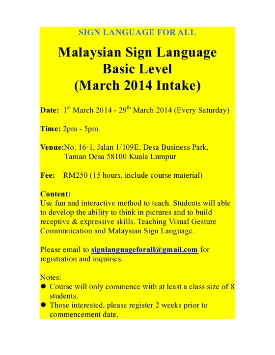 Poster_Basic SL_March 2014 Intake